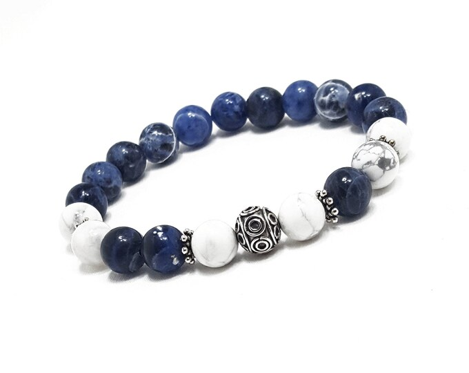 Balance + Inspiration Bracelet: Sodalite & Howlite Gemstones + 925 Silver Bali Bead and Dividers