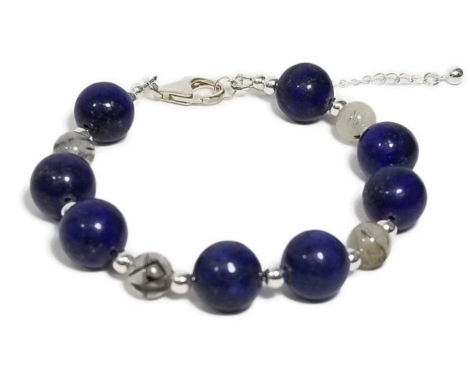 Good Energy Vibes - Love + Balance Bracelet: Lapis Lazuli & Tourmalated Quartz Gemstone Beads Sliver Clasp Bracelet, Healing Yoga Meditation