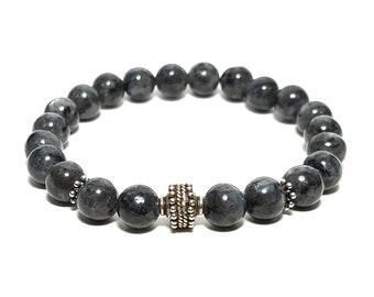 Truth + Transformation Bracelet - Black Labradorite Gemstones plus 925 Sterling Silver Bali Bead & Dividers.