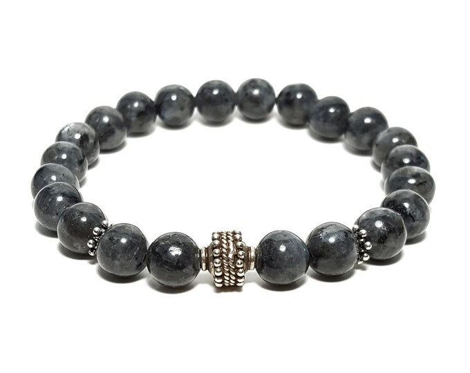 Truth + Transformation Bracelet - Black Labradorite Gemstones plus 925 Sterling Silver Bali Bead & Dividers.