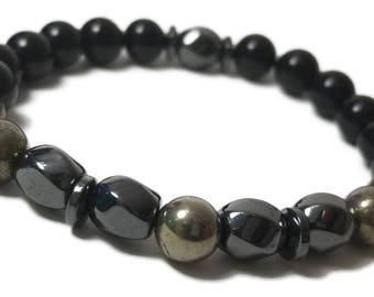 Good Energy Vibes - Perception + Balance Bracelet - Pyrite, Hematite & Onyx Gemstone Beads, Energy Healing Meditation Chakra Stones