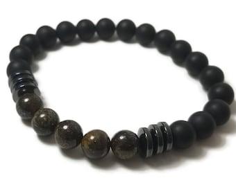 Good Energy Vibes - Courtesy + Strength Bracelet - Bronzite, Hematite, Onyx Gemstone Beads, Energy Healing Meditation Yoga Chakra Stones