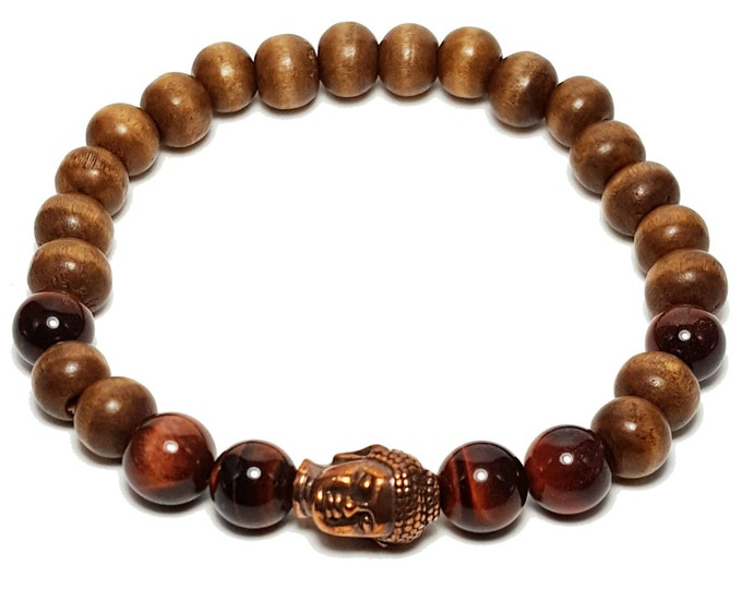 Protection + Knowledge Bracelet: Wood Beads & Red Tiger Eye Gemstones + Buddha Head Charm