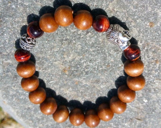 Protection + Clarity Bracelet: Wood Beads & Red Tiger Eye Gemstones + 925 Silver Bali Bead and Buddha Head Charm