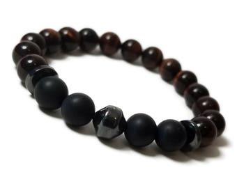 Strength + Courage Bracelet: Red Tiger Eye, Hematite, Onyx Gemstone Beads
