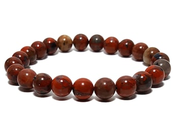 Good Energy Vibes - Cleansing + Stability Bracelet, Red Poppy Jasper Gemstone Beads, Energy Healing Yoga Meditation Chakra Stones