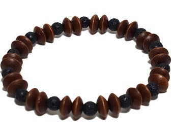 Natural Wood Bracelet: Lava Stones & Wood Beads Bracelet, Casual Everyday Wooden Bracelet, Gift for Him or Her