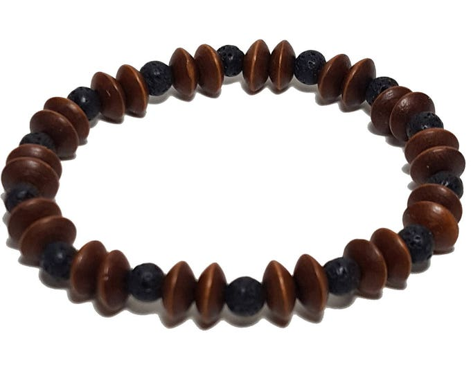 Natural Wood Bracelet: Lava Stones & Wood Beads Bracelet, Casual Everyday Wooden Bracelet, Gift for Him or Her