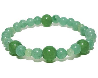 Good Energy Vibes, Balance + Calming Beaded Bracelet, Green Aventurine Gemstone Beads, Energy Healing Meditation Yoga Chakra Stones