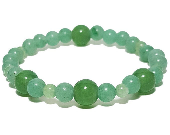 Good Energy Vibes, Balance + Calming Beaded Bracelet, Green Aventurine Gemstone Beads, Energy Healing Meditation Yoga Chakra Stones