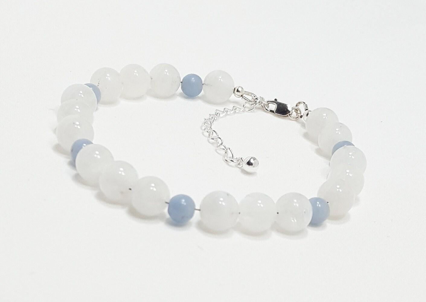 443a2ffb6c26a4 Good Energy Vibes® - Peace + Harmony Bracelet - Blue Lace Agate & Snow  Quartz Gemstone Beads, Energy Healing Yoga Meditation Chakra Stones
