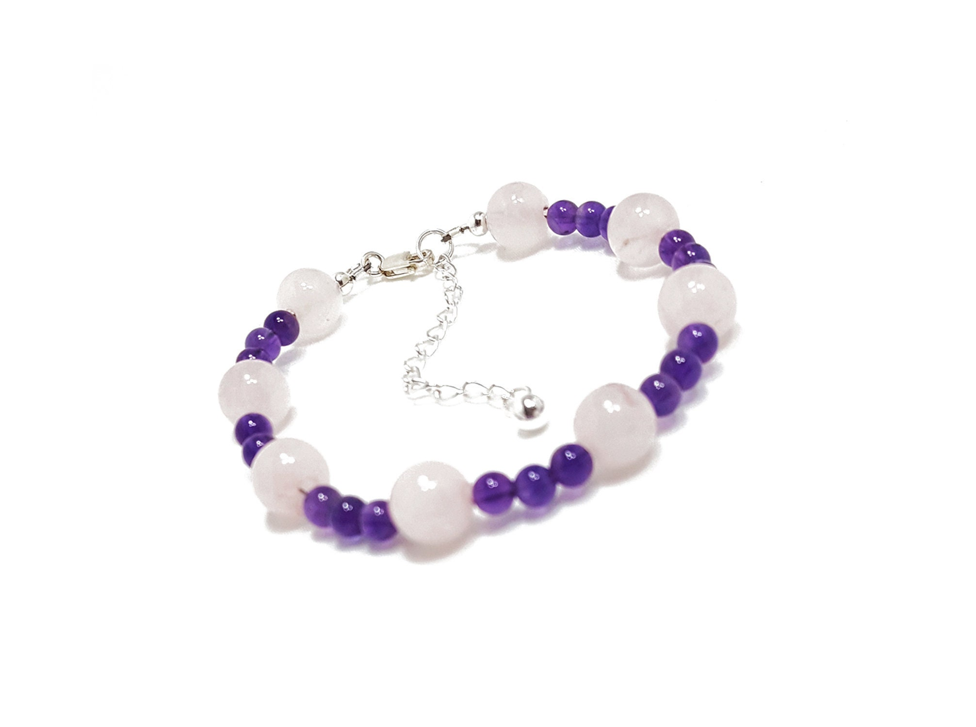 aaeed74543 Love + Protection Bracelet  Rose Quartz   Amethyst Gemstone Beads + 925  Silver Chain and Clasp.