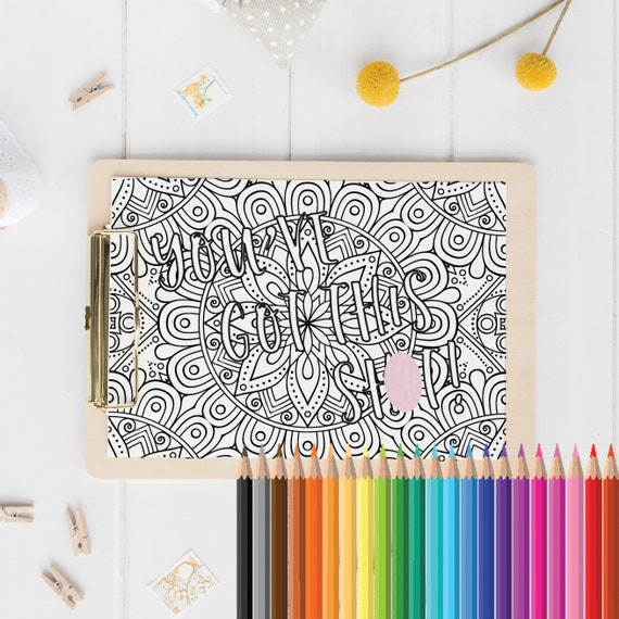 Sweary Colouring Book Page Swear Word Colouring Funny Stress Etsy