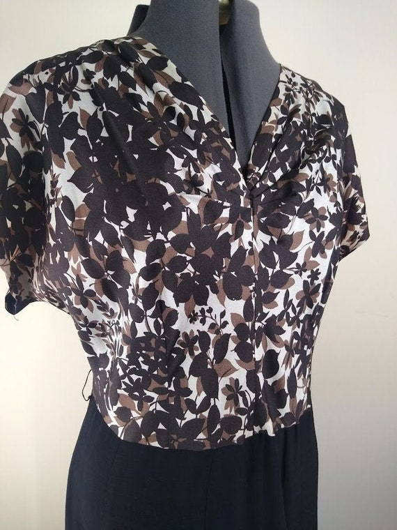 Vintage 1940s Brown/Black Floral Top Dress