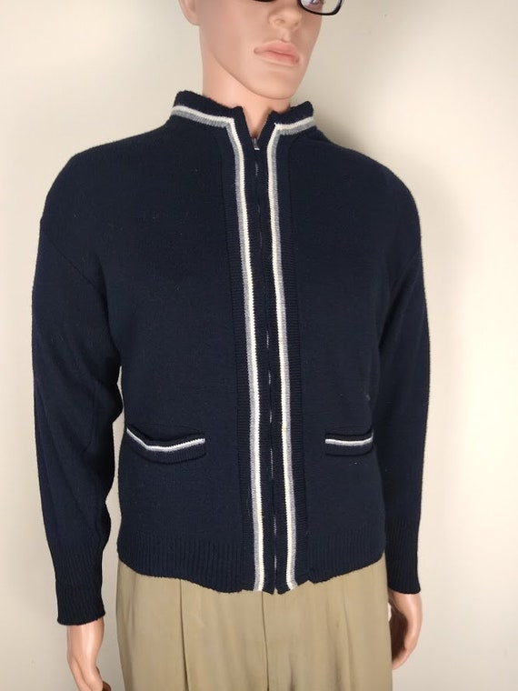 1950s-60s Navy Zippered Cardigan/Sweater-Jacket by