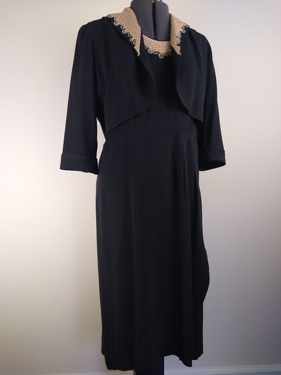 Vintage 1940s VOLUP Black Rayon Dress & Jacket w/