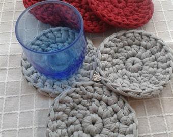 """Fabric Coasters """"Transpillo"""", handmade (crochet), 6 pcs"""