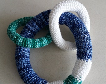Rattle rings interlaced with sound, handmade, crochet