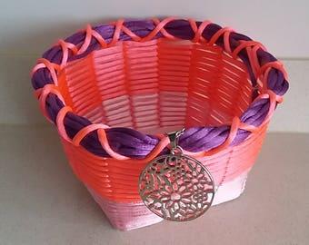 Tricolor basket with square base. Handicraft, handmade.