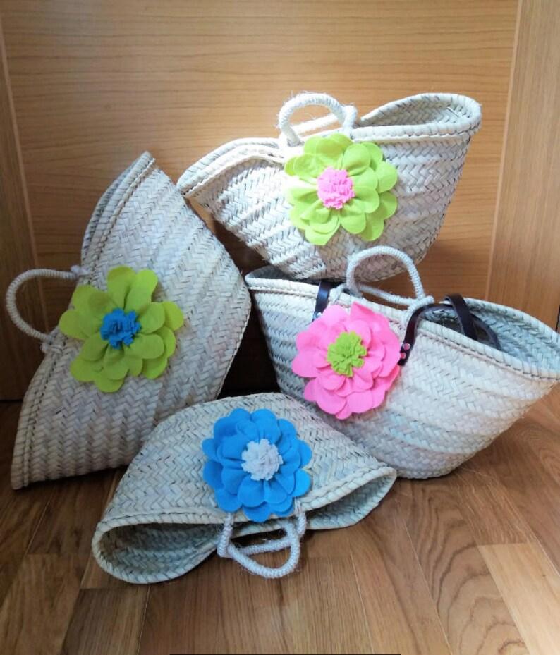 Hand decorated Beach basket Bag traditional handicraft