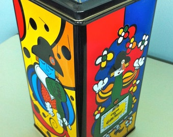 Romero Britto Tin Container/Romero Britto Art/Enamel Tin/Collectible Art Tin/Colorful Art/Modern Art Decor/Creme De Grand Marnier Tin