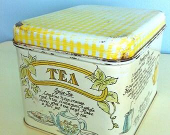 Tea Recipes Tin Container/Rustic Tea Tin Container/Vintage Tea Tin Container/Retro Tea Tin Container/Shabby Tea Tin Container/Rustic Decor