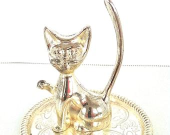 Cat Ring Holder/Vintage Cat Ring Holder/Vintage Cat Ring Dish/Silver Cat Ring Holder/Retro Cat Ring Holder/Cat Ring Dish/Silver Cat Figurine
