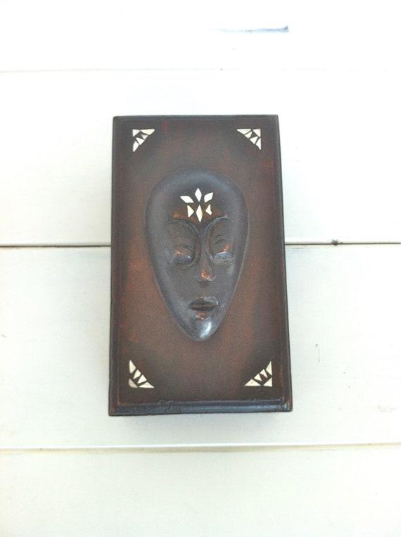 African Carved Wooden Trinket Box/African Folk Art