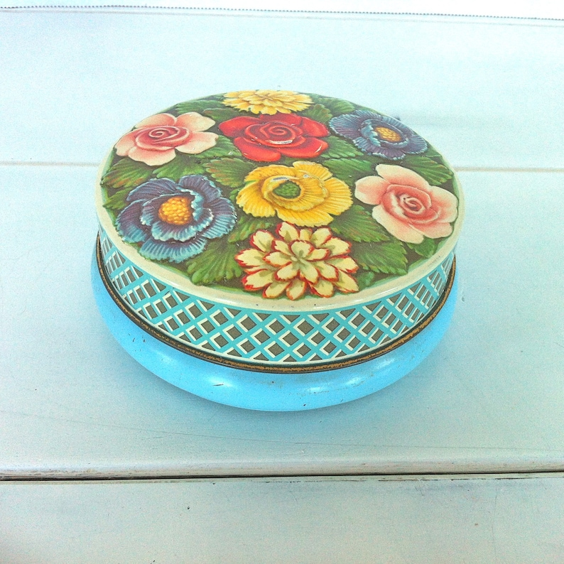 Riley/'s Toffee TinFlowered Tin ContainerVintage Flower Design TinRiley/'s Embossed Flower TinVintage Tin ContainerEnglish Tin Container