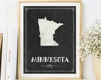 Minnesota map printable, Minnesota print, Minnesota poster, Minnesota decor, Minnesota sign, Minnesota wall art, State print, State map