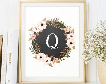 Digital monogram, Letter Q, Letter poster, nursery wall art, Alphabet, Printable monogram, Floral Monogram, Initial, Pink, Baby initials
