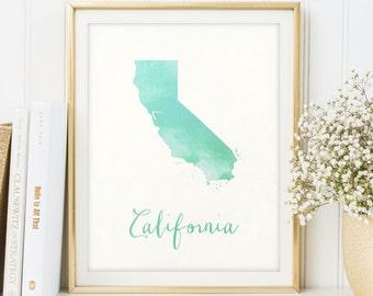 California Map Printable Watercolor State Print Gifts Sign Wall Art Prints