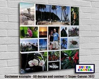 Personalised 16 Picture Photo Collage on Canvas ready to hang