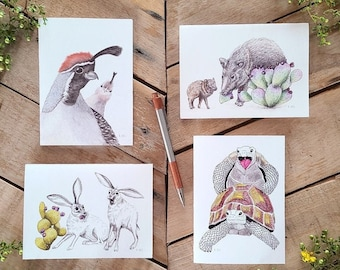 Candid Desert Wildlife 4 Card Pack, Desert Greeting Cards, Cute desert animals, quail card, jackrabbit card, tortoise card, javelina card