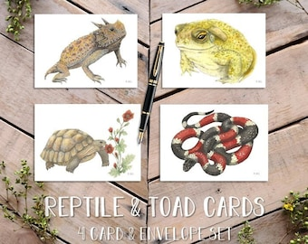 Reptile and Toad Notecards, Desert Herps, Horned Lizard Card, Coral Snake Card, Toad Card, Desert Tortoise Card