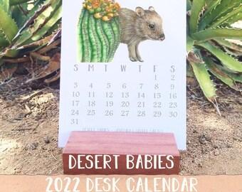 Desert Babies Desk Calendar 2022, Sonoran Desert Fauna, Handmade Wood block Stand, wildlife art calendar, Baby Animal Art, Cute Calendar