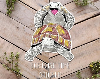 Tortoise Time Sticker, Funny Turtle Sex, Sexy Tortoise Art, Getting it on, Turtle Sex, Funny Sticker, Vinyl Turtle sticker, goofy turtle art
