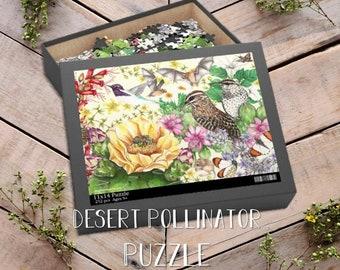 Desert Pollinator Puzzle 252-Piece, Cactus Wrens, Cactus Bees, Mammal Pollinators, Bird Pollinators, Insect Pollinators