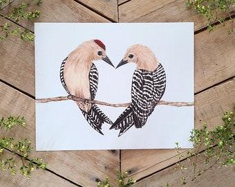 Gila Woodpecker Bird Love Art Print, Natural Science Illustration, Heart Shaped Birds, Sonoran Desert animals, Nature Art, Bird Lover