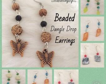 Dangle Drop Earrings, Beaded Earrings, Fun Earrings, Women, Gift, Accessories