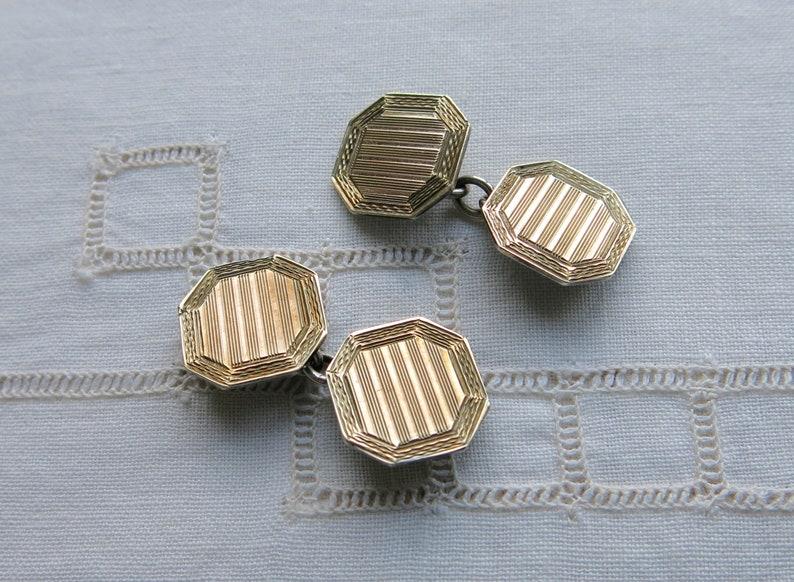 Antique octagonal 9ct rose gold on silver vermeil cufflinks
