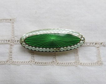Antique silver and green enamel brooch by J Atkins & Son 1911