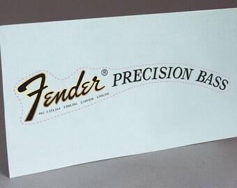 Fender 70's PB Precision Bass Guitar precut water slide decal headstock for restoration