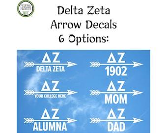 1ac0bfb4 Delta Zeta Arrow Decal - Options Include Mom, Dad, Alumna, 1902 or DZ  College Name