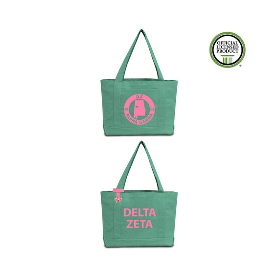 Delta Zeta Sorority Tote Bag with DZ Chapter Print and Custom Internal Quote