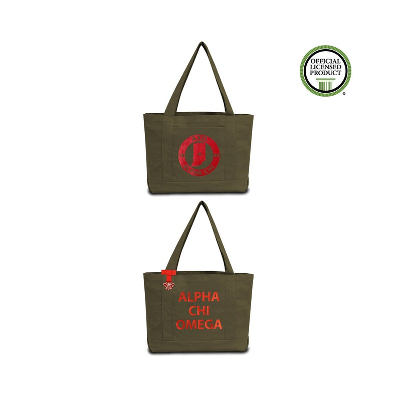 Alpha Chi Omega Sorority Tote Bag with Alpha Chi Chapter Print and Custom  Internal Quote