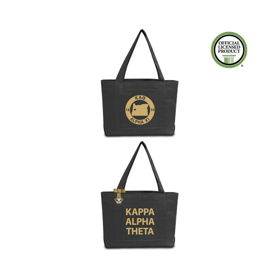 Kappa Alpha Theta Sorority Tote Bag with Chapter Print and Custom Internal  Quote