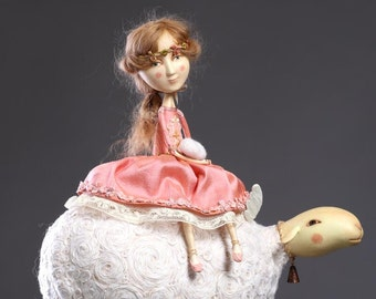 Somewhere in clouds (art doll from paperclay, one of a kind)