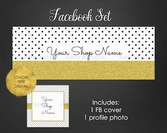 Facebook timeline cover, facebook banner set, facebook graphics, chic facebook set, black and gold, polka dot, modern banner