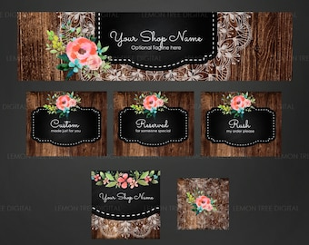 Etsy banner set, etsy shop set, chic etsy banner, premade etsy graphics set, wood banners, etsy cover photo, rustic
